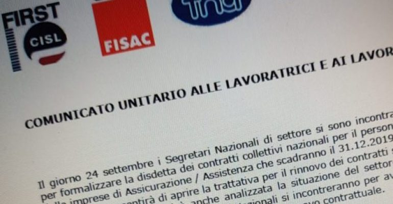 Assicurativi, Ania: è stata formalizzata la disdetta del contratto nazionale