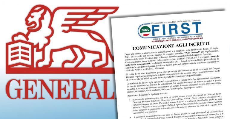 Generali, siglato accordo sul lavoro agile post-emergenza