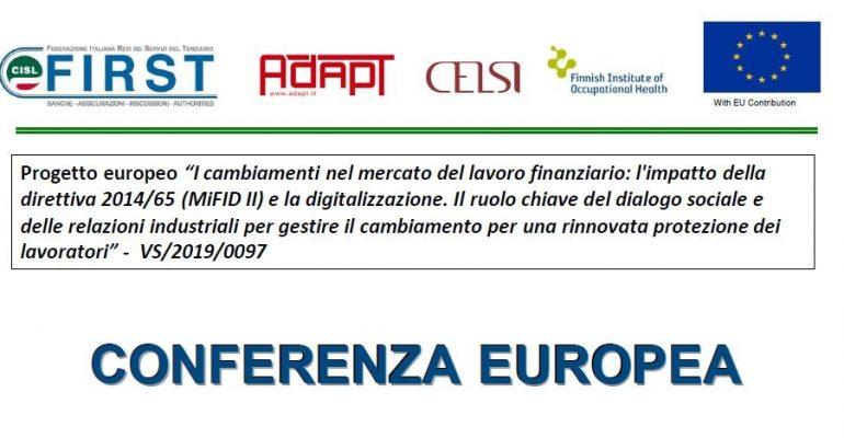 Mifid II, tutela del risparmio e dei lavoratori. Le proposte First Cisl all'Europa