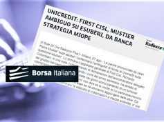 Borsa Italiana, Colombani a Mustier, su esuberi in UniCredit parlare chiaro