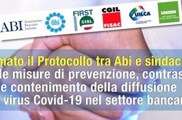 Protocollo ABI-Sindacati sulle misure di prevenzione, contrasto e contenimento della diffusione del virus Covid-19 nel settore bancario