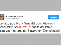Furlan, congratulazioni via tweet per il contratto assicurativi