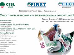 Npl, la proposta First Cisl illustrata il 3 aprile a Roma