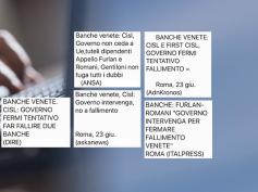 Banche venete, l'appello congiunto Furlan-Romani sulle agenzie di stampa