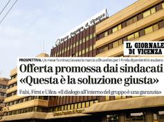 Il Giornale di Vicenza e il commento del sindacato sull'offerta di Intesa