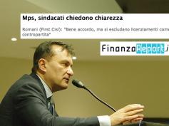 """Mps, Romani su FinanzaReport, """"bene accordo, ma si escludano licenziamenti"""""""