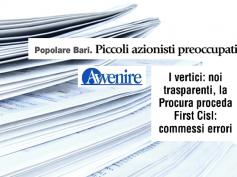 """Popolare Bari, Romani su Avvenire, """"commessi errori di gestione"""""""