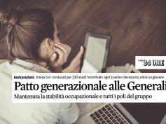 Il Sole 24 Ore sul patto generazionale in Generali, il commento di First Cisl