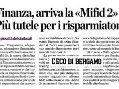 Le perplessità di First Cisl in materia di Mifid 2 su L'Eco di Bergamo
