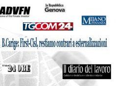 Carige, grande spazio dalla stampa al no di First Cisl sulle esternalizzazioni
