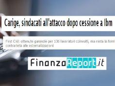 FinanzaReport, Carige, temperatura alta da esternalizzazioni, no di First Cisl