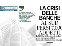 Corriere del Mezzogiorno, studio First Cisl, al sud persi 7000 posti