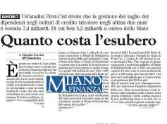 Milano Finanza, il rapporto First Cisl, le banche e l'impatto degli esuberi