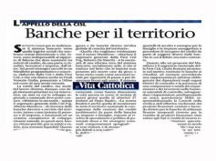 La Vita Cattolica, le banche tornino a essere vera espressione del territorio