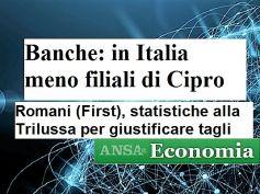 Studio First Cisl banche in Eurolandia, Romani, in Italia peggio che a Cipro