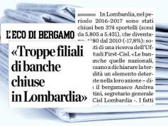 L'Eco di Bergamo, banche chiudono, abbandonare i territori è scelta incoerente