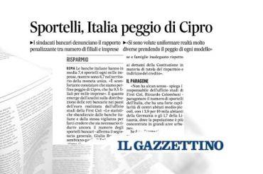 Sportelli, studio First Cisl, Romani al Gazzettino, perché prendere il peggio