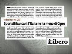 Libero, studio First Cisl su sportelli bancari, Cipro batte Italia