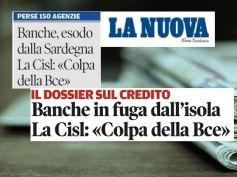 La Nuova Sardegna, studio First Cisl, banche indietro tutta e filiali in fuga