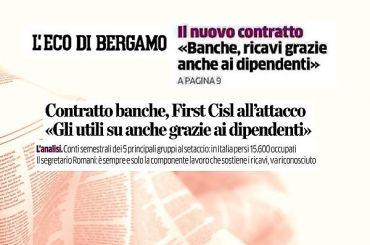 L'Eco di Bergamo, Romani, utili banche frutto lavoro e sacrifici dipendenti