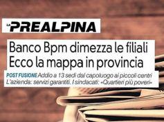 La Prealpina, Bpm dimezza filiali varesine, First Cisl, penalizzato territorio