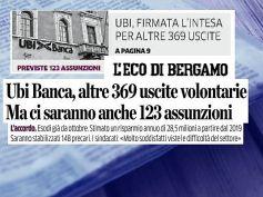 L'Eco di Bergamo,accordo Ubi,First Cisl,ok occupazione e ricambio generazionale