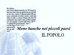 Il Popolo, Studio First Cisl banche, Uncem scrive, troppe chiusure