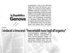 La Repubblica, First Cisl, in Carige impensabili nuovi tagli agli organici
