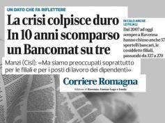 Corriere di Romagna, studio First Cisl, nemmeno i bancomat resistono alla crisi