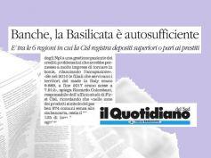 Studio First Cisl credito, pari depositi e prestiti, Basilicata autosufficiente