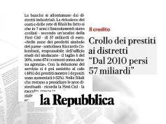 Ricerca First Cisl sul credito, Repubblica, finanziamenti in vertiginoso calo