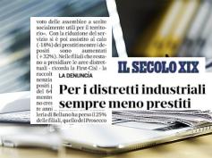Studio First Cisl banche, Il Secolo XIX, sempre meno credito per i distretti