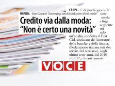Voce, Studio First Cisl credito, Carpi, le banche credono poco nella moda