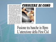 Corriere di Como, fusione Bpm, First Cisl, valorizzare forza lavoro territorio