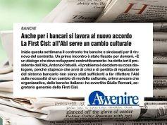 Avvenire, rinnovo contratto banche, First Cisl, Abi serve un cambio culturale