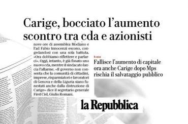 Banca Carige, First Cisl, governo eviti disastro a Genova e alla Liguria