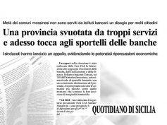 Quotidiano di Sicilia, sempre meno banche, i territori si svuotano di servizi