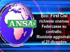 Ansa, rinnovo contratto Bcc, First Cisl, onerose richieste Federcasse