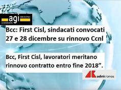 Rinnovo Ccnl Bcc, First Cisl, lavoratori meritano contratto entro fine anno