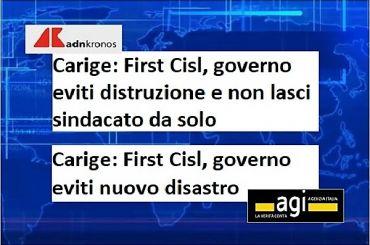 Carige, First Cisl, governo eviti nuovo disastro e non lasci sindacato da solo