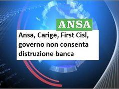 Ansa, Carige, First Cisl, governo non consenta distruzione banca