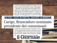 Il Giornale, crisi Carige, First Cisl, non minare fiducia di liguri e genovesi