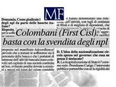 MF intervista Riccardo Colombani, Npl, Carige, Mps, rinnovo contrattuale