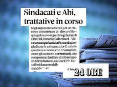 Il Sole 24 Ore, rinnovo contratto dei bancari, trattative in corso