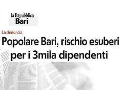 Banca Popolare di Bari, 3mila rischiano, First Cisl mette in mora il management