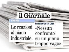 Il Giornale, Cisl e First Cisl Liguria, piano Carige vago, no confronto al buio