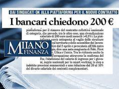 Milano Finanza, con il nuovo contratto i bancari chiedono 200 euro in più