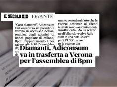 Il Secolo XIX, Adiconsum promuove trasferta a Verona su diamanti in Banco Bpm