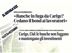 Carige, Colombani banche rimangano investite, se fuga cedano bond a lavoratori