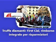 Protesta in Banco Bpm, First Cisl, tutti uniti per rimborso integrale diamanti